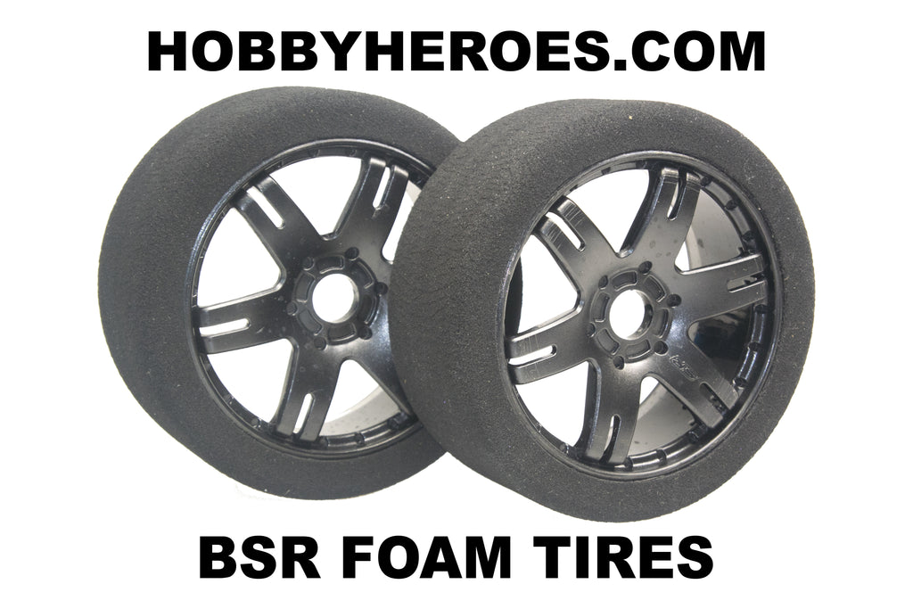 BSR FOAM TIRES 30 SHORE MOUNTED ON BLACK SPOKE RIMS HHBSR30