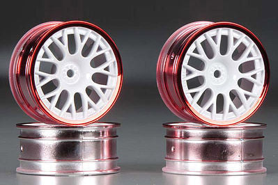 Tamiya Medium Narrow Mesh Wheels White/Red Rims TAM84243