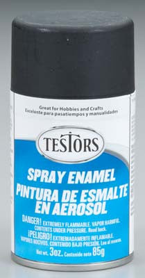 Testors Spray Flat Black 3 oz TES1249T