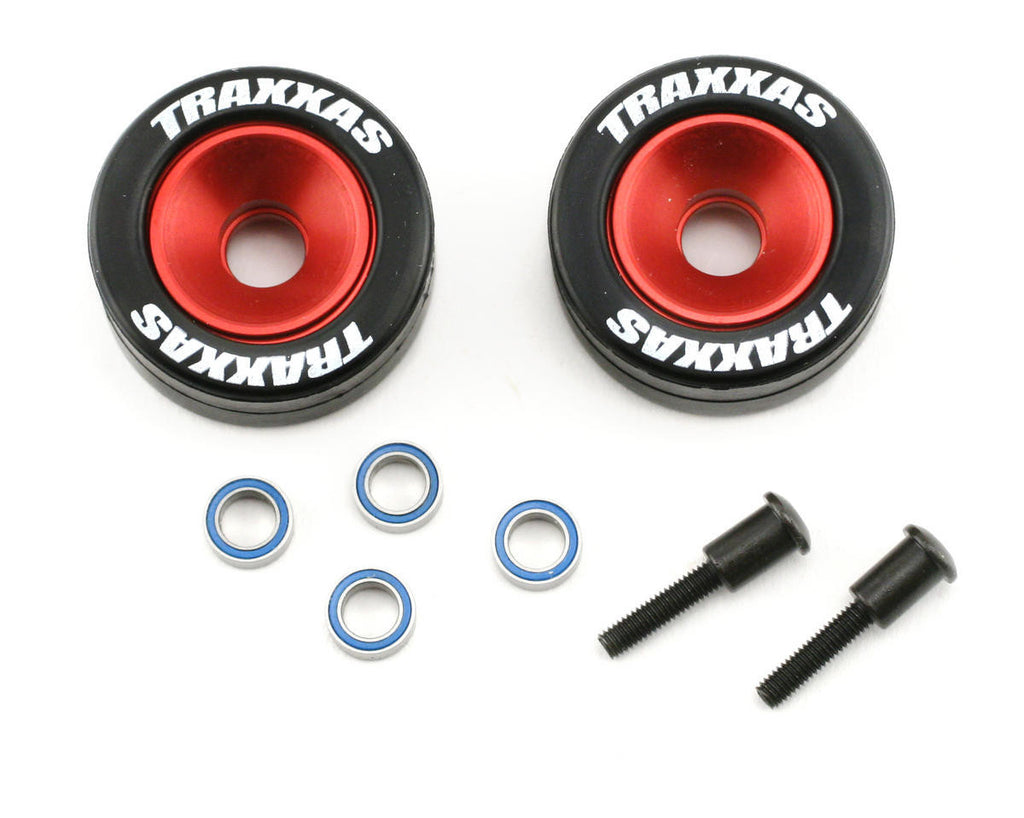 Traxxas Mntd Wheelie Bar Tires/Whls Red TRA5186