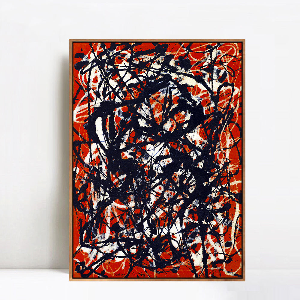 pollock free form value  INVIN ART Framed Canvas Giclee Print Art Free Form by Jackson Pollock  Abstract Wall Art