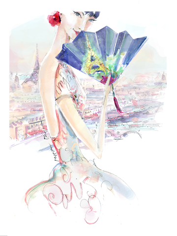 Paris Beauty with Fan | small canvas