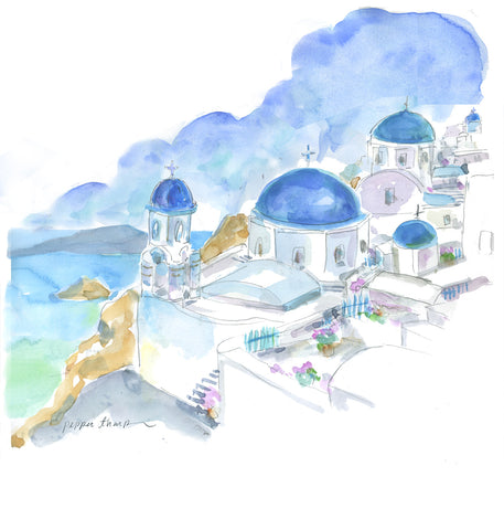 Greece Blue | santorini passport [small canvas]