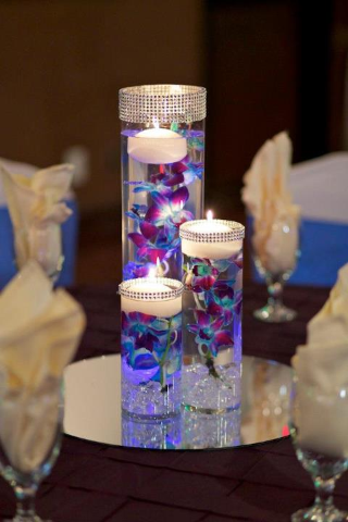 Cylinder Vase Floral Centerpiece with Candles