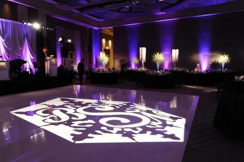 Custom Gobo Monogram Image onto Dance Floor with Led Lighting