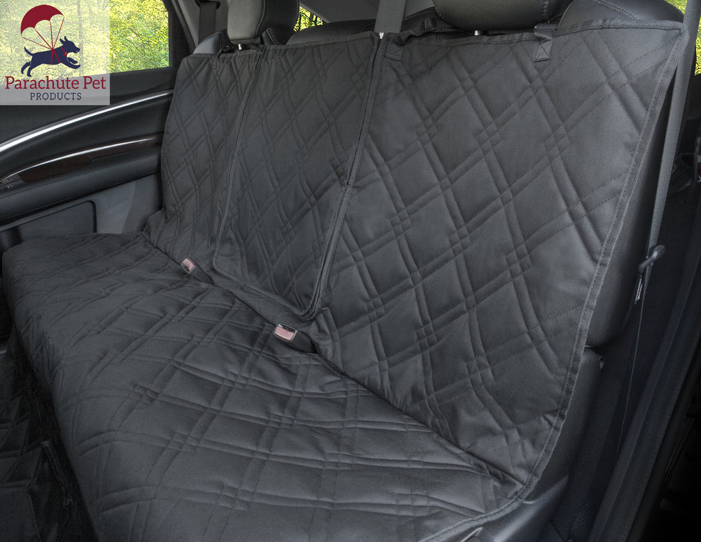 Rear Bench Seat Protector With Non Slip Backing And Middle Zipper Opening Parachute Pet
