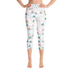 3D Triangles Pattern Yoga Capri Leggings - Gatch Tees