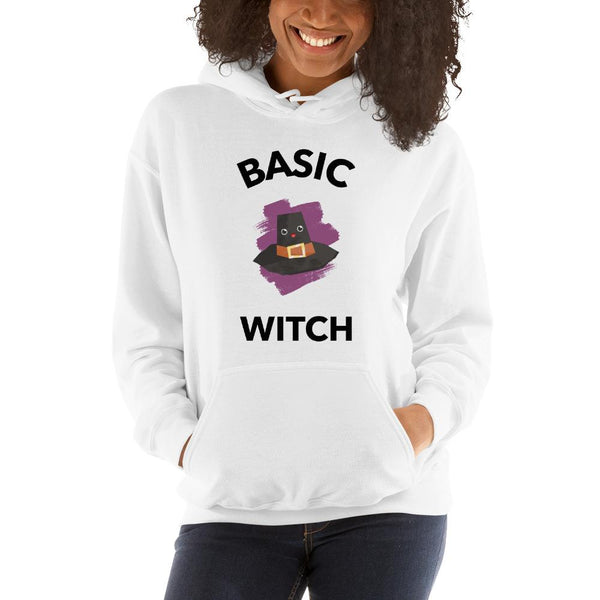 White Basic Witch Hooded Sweatshirt - Gatch Tees