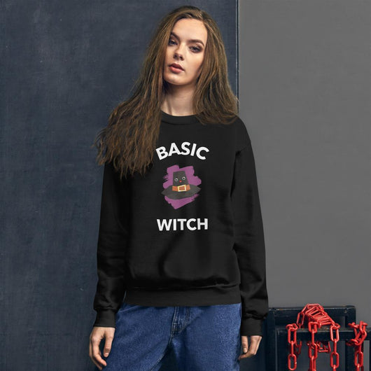 Basic Witch - White Print Sweatshirt - Gatch Tees