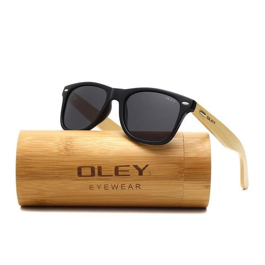 Classic Rectangle Bamboo Leg Polarized Sunglasses - Gatch Tees