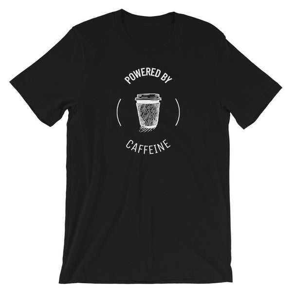 Black Powered By Caffeine T-Shirt - Gatch Tees