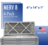 "Merv 8 Pleated Air Filter - 6"" x 14"" x 1"""
