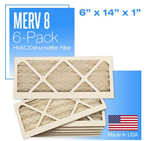 "6 or 12 Pack - Merv 8 Pleated Air Filter - 6"" x 14"" x 1"""