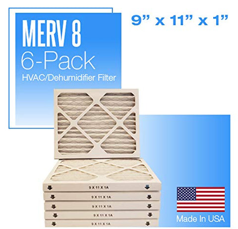 "6-Pack Merv 8 Pleated Air Filter - 9"" x 11"" x 1"""