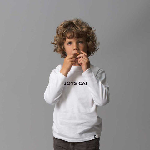White BOYS CAN Tshirt Long Sleeve - Wild Boys and Girls - 1