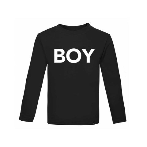 Black BOY Tshirt Long Sleeve - Wild Boys and Girls - 1