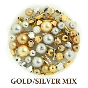 Gold/silver mix includes metallic, opaque, and matte beads in gold, silver, and bronze