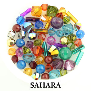Sahara mix includes matte, metallic, and opaque beads in shades of dusty yellows, teal, blue, sage green, orange, silver, gold, and peach pink