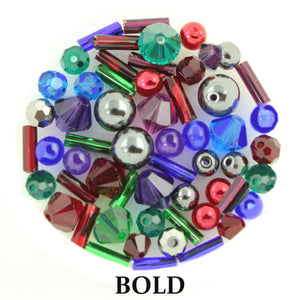 Bold mix includes matte, metallic, and opaque beads in blue, bright red, green, royal purple, silver, and toffee brown