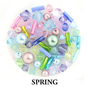 Spring mix includes metallic, opaque, and matte beads in soft pink, seafoam & lime greens, periwinkle & sky blue, sunshine yellow, and lilac