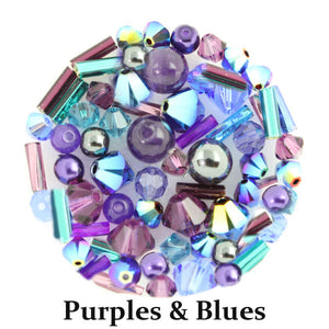 Purples & Blues mix includes metallic, opaque, and matte beads in shades of purple, teal, pale pink, bright green, burgundy, and blue