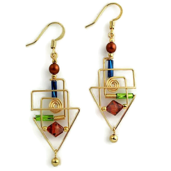 Frank Lloyd Wright Inspired Triangular Wirework Beaded Earrings
