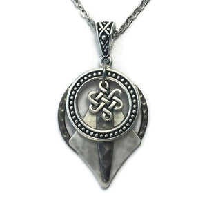 Layered Silver-Toned Patina Celtic Knot Pendant Necklace