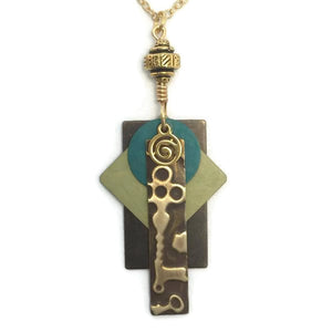 Layered Colored Patina Embossed Pendant Necklace