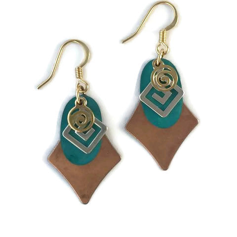 Layered Gold and Colored Patina Abstract Pendant Earrings