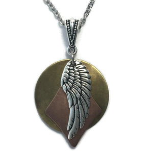 Layered Multi-Metal Patina Necklace with Angel Wing Pendant