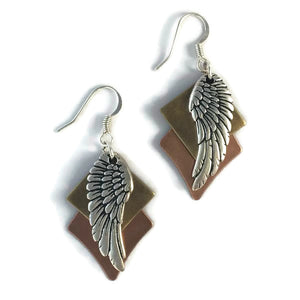 Layered Multi-Metal Patina & Angel Wing Earrings
