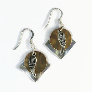 Layered Multi-Metal Patina & Angel Wing Earrings (small)