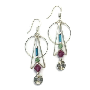 Galactica Wirework Beaded Geometric Earrings