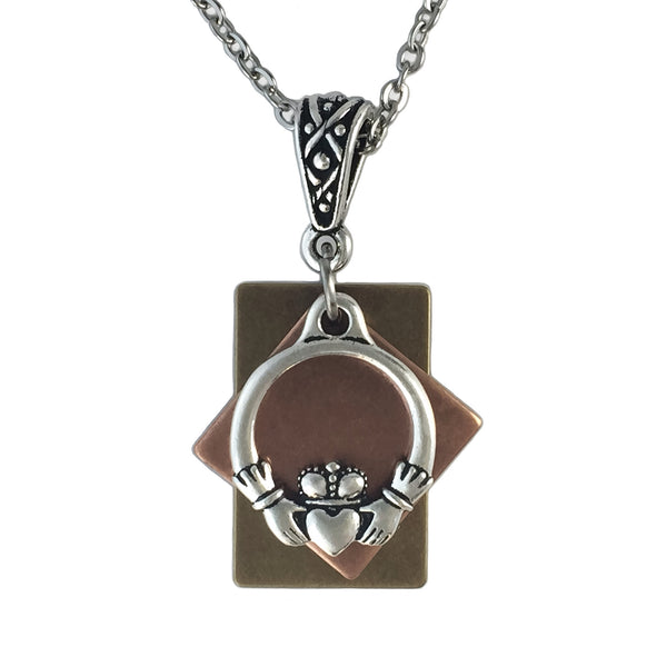 Patina Accented Claddagh Pendant Necklace