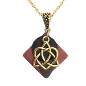 Layered Gold-Toned Patina Celtic Eternity Love Knot Pendant Necklace