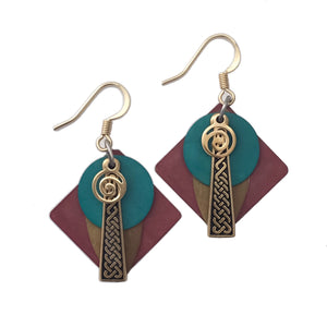 Colorful Layered Patina Abstract Pendant Earrings