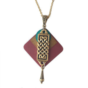 Layered Colorful Patina Celtic Braided Pendant w/ Teardrop Necklace