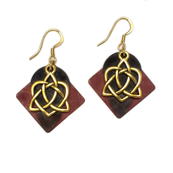 Layered Gold-Toned Patina Celtic Eternity Love Knot Earring