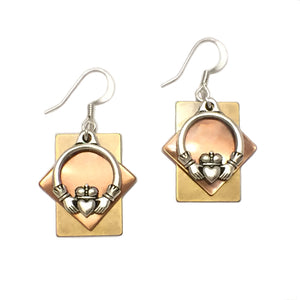 Layered Gold-Toned Claddagh Earring