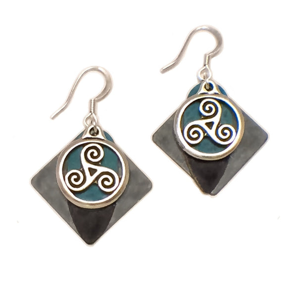 Layered Colored Patina Dangle Celtic Triskelion Pendant French Hook Earrings