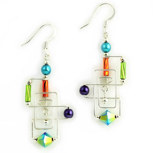 Frank Lloyd Wright Inspired Rectangular Wirework Beaded Dangle Earrings