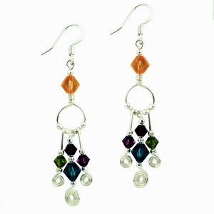 Beaded Wirework Circular Earring w/ Triple Drops