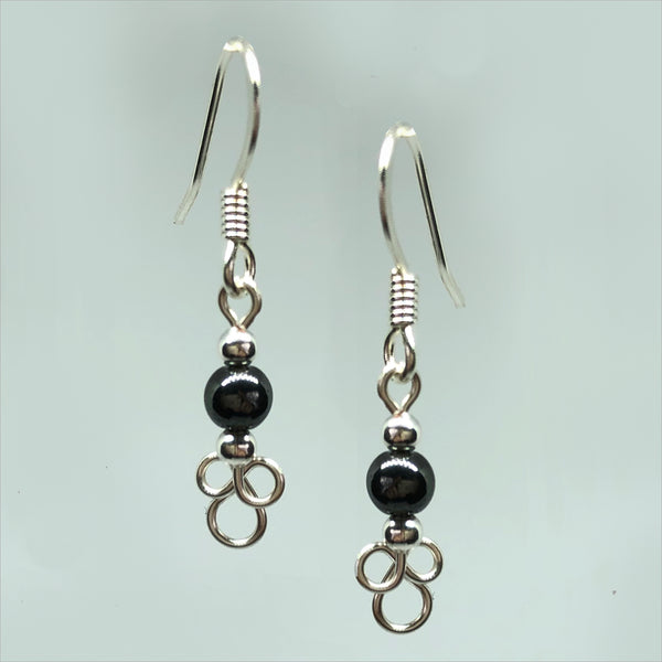 3-Leaf Clover Wirework Earrings with Bead Accent
