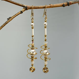 Jetson Long Wirework Caged Bead w/ Spiral Drop Dangle Earring