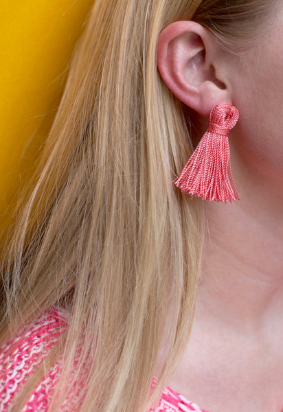 Coral Pink Mini Tassel Earrings