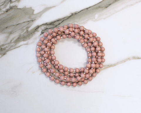 Blush Pink Double Wrap Necklace