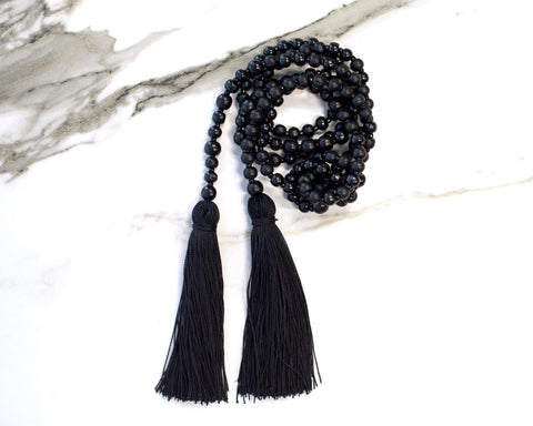Jet Black Double Tassel Necklace