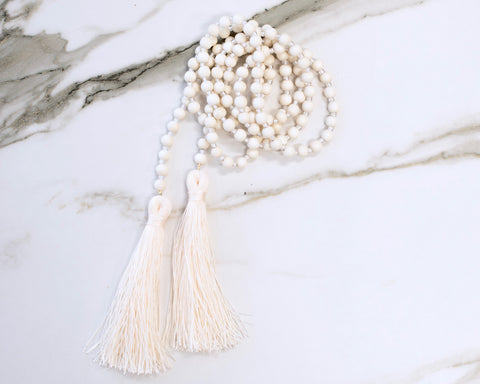 Bone Cream Double Tassel Necklace