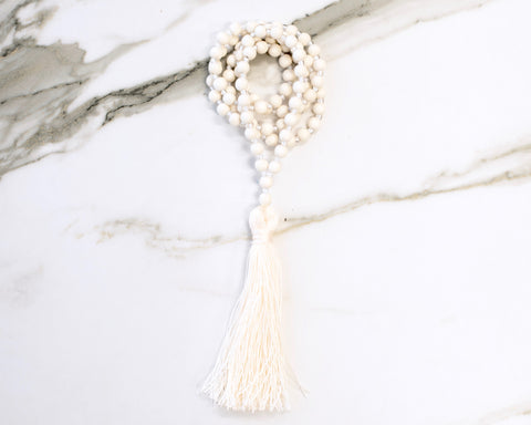 Bone Cream Tassel Necklace