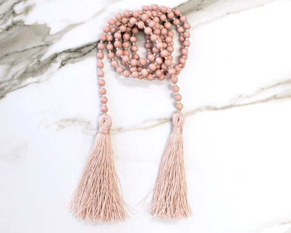 Blush Pink Double Tassel Necklace